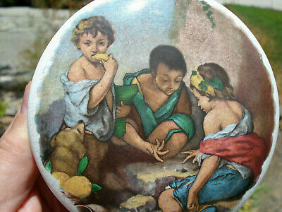 "Antique, ""3 Peasant boys playing game"", multi-colored under glaze pot lid"