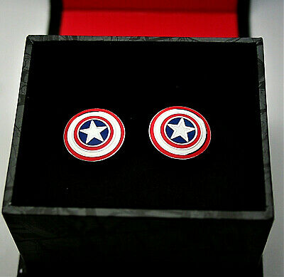 Marvel Comics Captain America Shield Metal Cuff Links New NOS + Gift Box