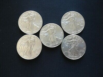 Lot of 5 - 2015 American Silver Eagle Coins BU Fresh From Mint Tube