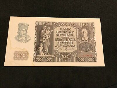 Poland 1940 20 zlotych circulated banknote