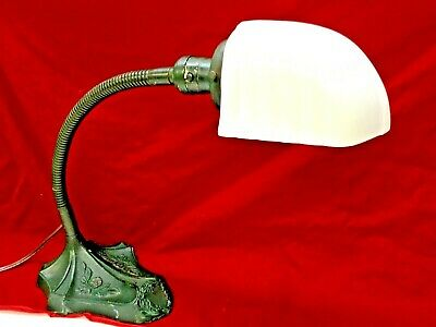 1920s Robert Schwartz Goose Neck Desk Lamp With Milk Glass Shade, Floral Base