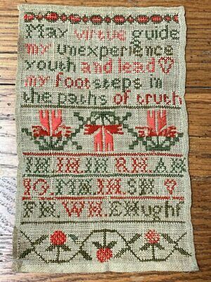 Early Antique 1800s Sampler Youth Verse SIGNED