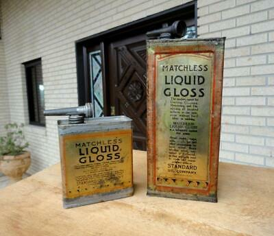2 MATCHLESS LIQUID GLOSS Standard Oil Company Cans LEAD FUNNEL TINS