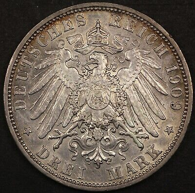 German States: Prussia, 1909 A 3 Mark Coin, Silver, KM#527