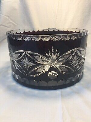 Large Vintage Bohemian Bowl-Dark Ruby Red Crystal Cut To Clear-Beautiful Design!