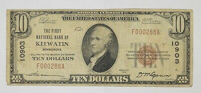 1929 $10 National Currency Note - Keewatin, MN *6331