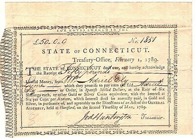 1789 Connecticut Note Fifty Pound Loan Jed Huntington Promissory Note