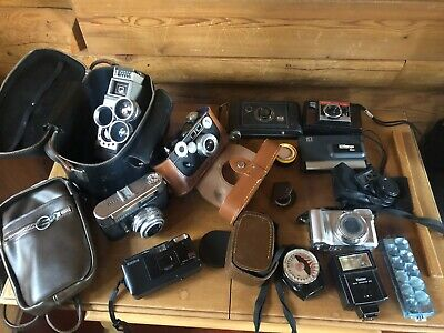 Lot of 8 Vintage Cameras & Varied Accessories SEE PICTURES