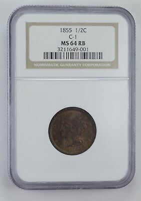 MS64 RB 1855 Braided Hair Half Cent - C-1 - Graded NGC *4062