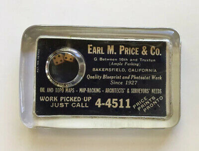Vintage Advertising Glass Paperweight Dice Bubble Bakersfield Ca Earl Price Maps