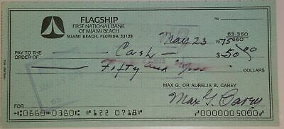 Max Carey Hand Signed Autographed Personal Check $50.00