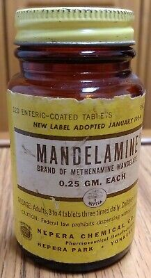 Vintage Mandelamine Pharmaceutical Brown Glass Bottle, Paper Label, 1/4 Contents
