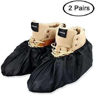 Reusable Boot & Shoe Covers Water Resistant Non Skid Large Black