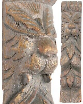 Antique Hand Carved Oak Wood Panel Lion Leaves Architectural Gothic Victorian