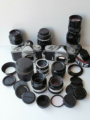 2 x Nikkormat 35mm Cameras with 5 Lenses & 2 Etx Tubes for Spares or Repair
