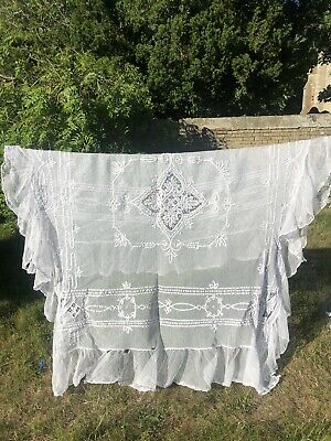 Vintage Net Lace Bedspread? c. 1900 With Tape Work
