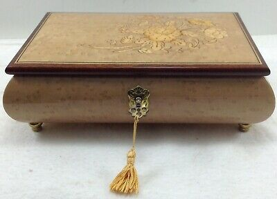 Vintage Sorrento Italian Wood Musical Jewelry Box Torna A Surriento Lock & Key