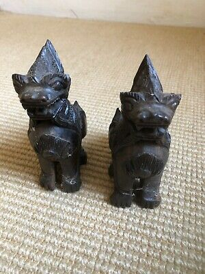 Antique Asian Temple Dogs X 2 Vintage Wood Carved Lions Foo