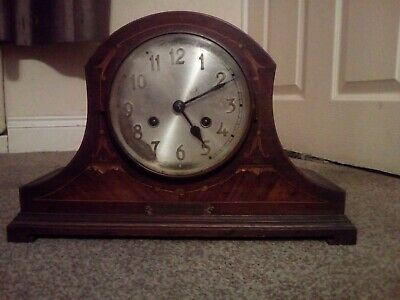 Domed top mahogany inlaid 2 train mantel clock