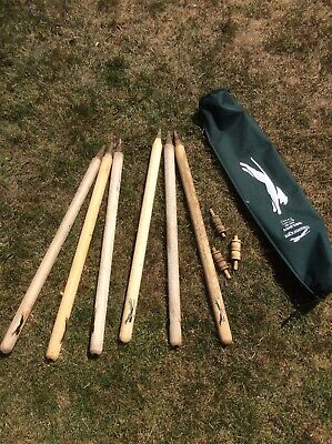 Slazenger Cricket Stumps x 6 plus 3 bails And Bag.Adults Full Size 28 inch  Used