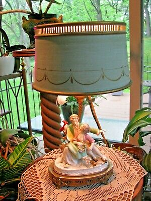 Vintage Figural Boudoir Lamp-Romantic-With Metal Shade