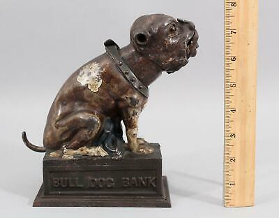 RARE c1880 Antique 19thC J E Stevens BULLDOG Mechanical Cast Iron Bank, NR