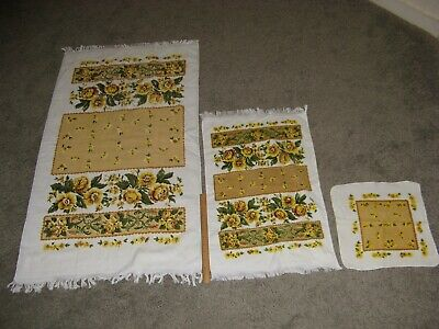 Vintage Cannon Towels Yellow Golden Flowers Set Of 3