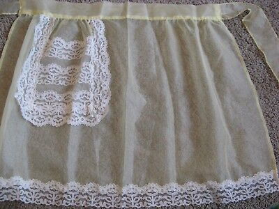 Lacy Vintage Sheer Yellow Apron with Lace trim & Pocket