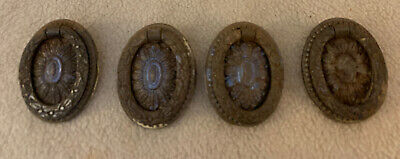 Lot of 4 Victorian Ornate Brass Drop Ring Center Mount Drawer Pulls (#6A)
