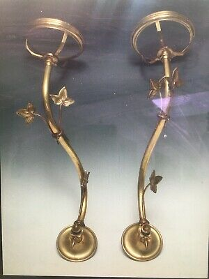pair antique brass art nouveau oil lamps wall lamps drop in font