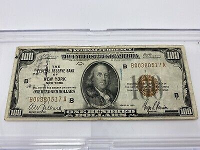 $100 New York Brown Seal 1929 Federal Reserve Bank Note  Tape On Reverse