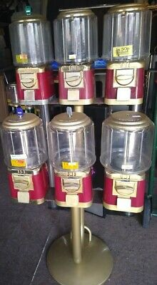 6 x Classic Sweet & Toy Capsules Dispensing Vending Machines and stand 50p vend