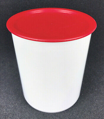 Tupperware (C) #2418A White Container w/ Red One Touch Seal Lid #2419A Vintage