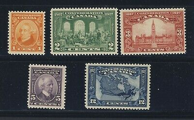 5x Canada MNH Confederation stamps #141-1c to 145-12c Map Guide Value = $95.00