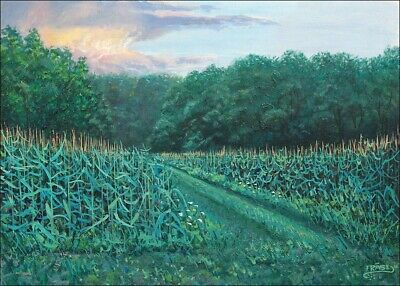 Frase Original Oil Painting Landscape Farm Corn Michigan Art Realism Summer