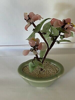 Vintage Asian Agate Glass Bonsai Tree With Jade Colour Leaves