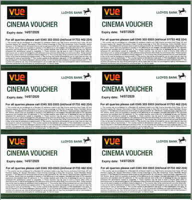 NEW 6 x VUE Cinema Tickets Expiration 14/07/2020