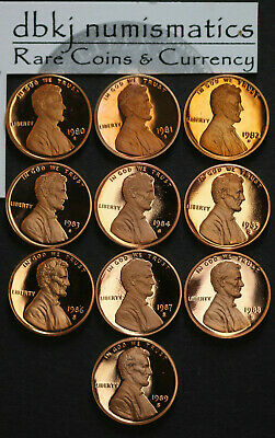 1980 1981 1982 1983 1984 1985 1986 1987 1988 1989 S Proof Lincoln Memorial Cents