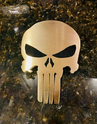 Punisher Mesh Grille Grill Pew Pew Edition Brushed Brass Emblem