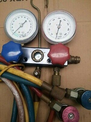 R134a Manifold Gauge Kit HVAC A/C Air Conditioning WITH 6 CANS OF FREON