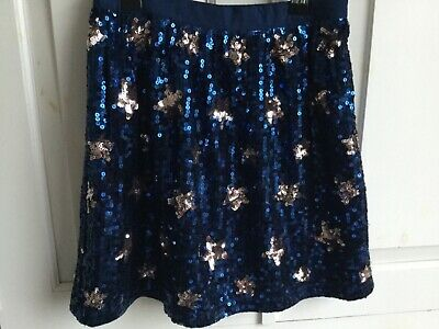 John Lewis girls rose gold navy blue sequin star skirt Boden style age 10 BNWT
