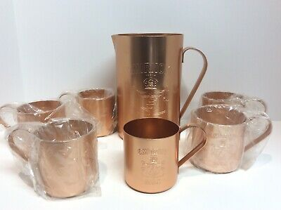 Smirnoff Mule Set Vintage 1980  Pitcher & 6 Mugs Made In The Usa
