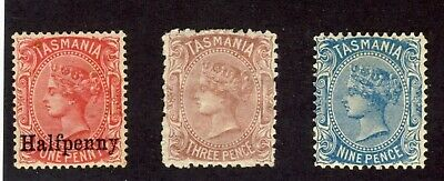 3x Mint Tasmania stamps No. 65-1/2p/1 MNG #56-3P MH #58-9P MH Cat. Value=$70.00