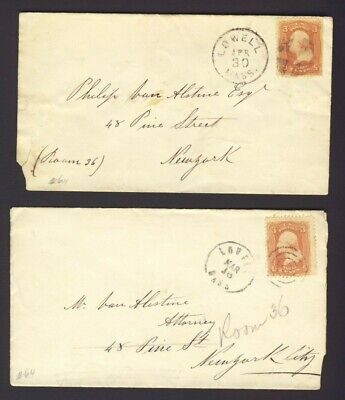 2x USA. 1869 stamped covers 3c Washington to NY. PM LOWELL MASS Fancy Cancels