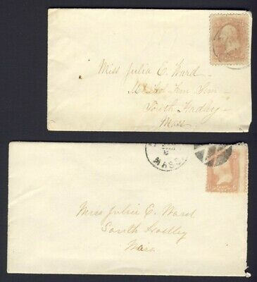 2x USA. stamped covers 3c Washington both to South Hadley Mass. 1x fancy cancel