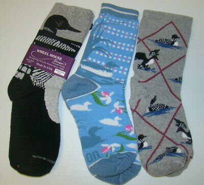 (3) Pairs LOON DESIGNER NOVELTY SOCKS Made in USA 1 New 2 Pre-Owned
