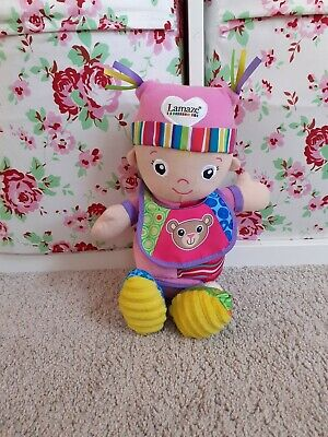 Babys Lamaze Sensorry Toy Pink Doll With Bib Buggy Cot Hanging Toy