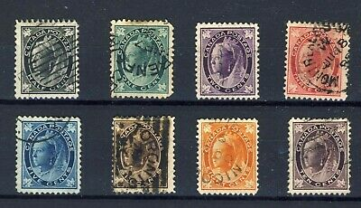 8x Canada Victoria Leaf Used set No. 66 to No. 73 F F/VF Guide Value = $115.00