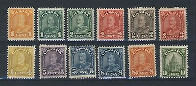 12x Canada George V Arch MH Stamps; #162 to #173 Guide Value = $65.00