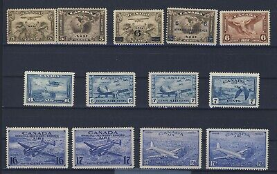 13x Canada Airmail Mint Stamps #C1 to C9 & CE1 to CE4 MH VF Guide Value= $151.00